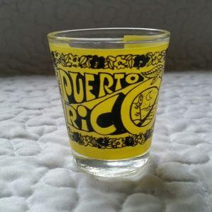 Vintage 1970s Yellow Black Puerto Rico Shot Glass